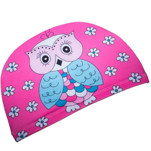 Badehette til barn - rosa ugle