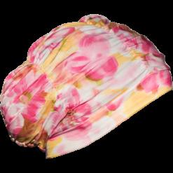 Badehette med rosa blomster