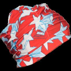 Rød turban badehette i nylon med stjerne