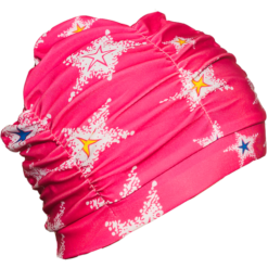 Rosa turban badehette i nylon med stjerne